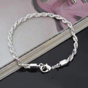 "Women's Silver Tone Braided Twisted Bracelet 8"""